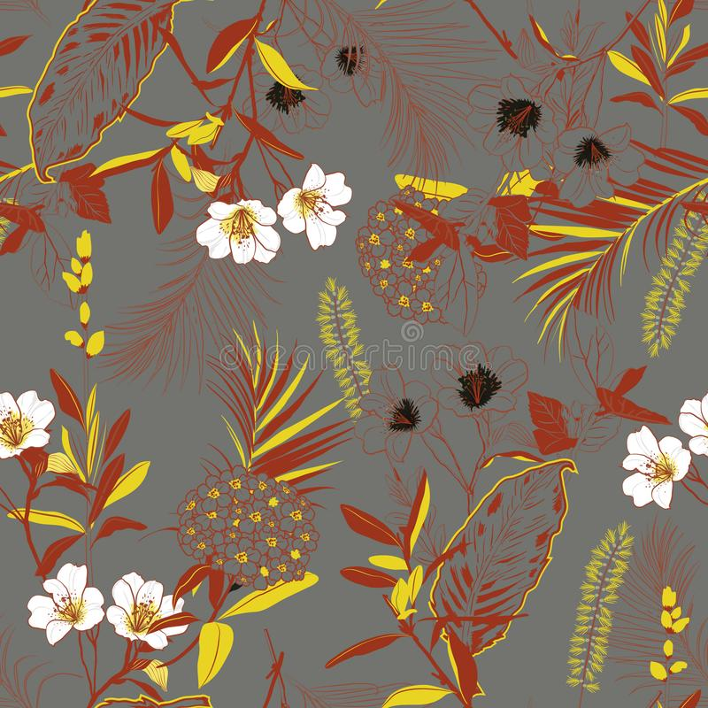 Beautiful retro forest blooming garden outline and hand painting royalty free illustration