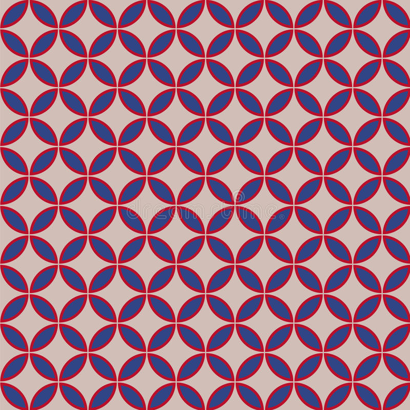 Beautiful retro geometric pattern with usa color stylized flowers. vector illustration vector illustration