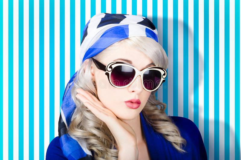 Beautiful Retro Pinup Girl In Scarf And Sunglasses Stock ...