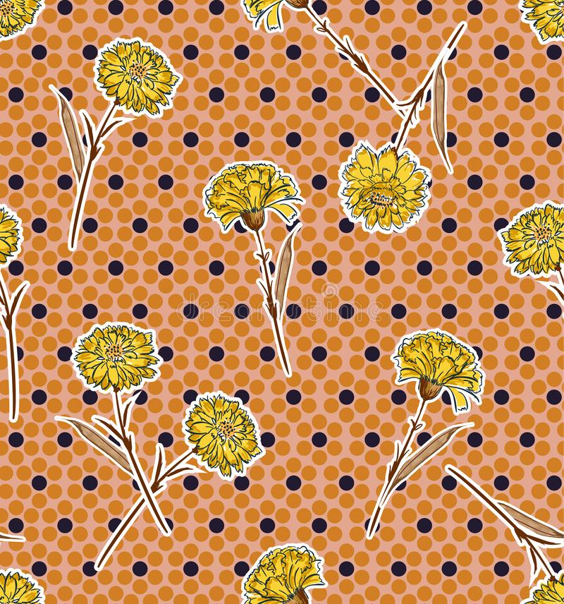 Beautiful retro Seamless pattern carnation flower on modern polaka dots background in vector design for fashion ,fabric,wallpaper, vector illustration