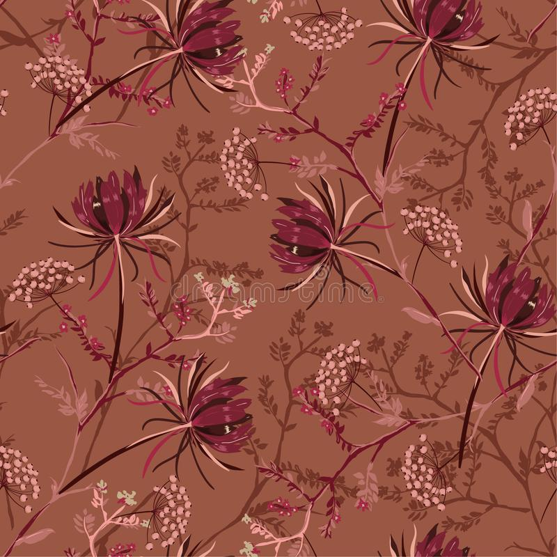Beautiful retro Seamless pattern of soft and graceful oriental b. Looming flowers,botanical vector design for fashion,fabric,wallpaper,and all prints on stylish royalty free illustration