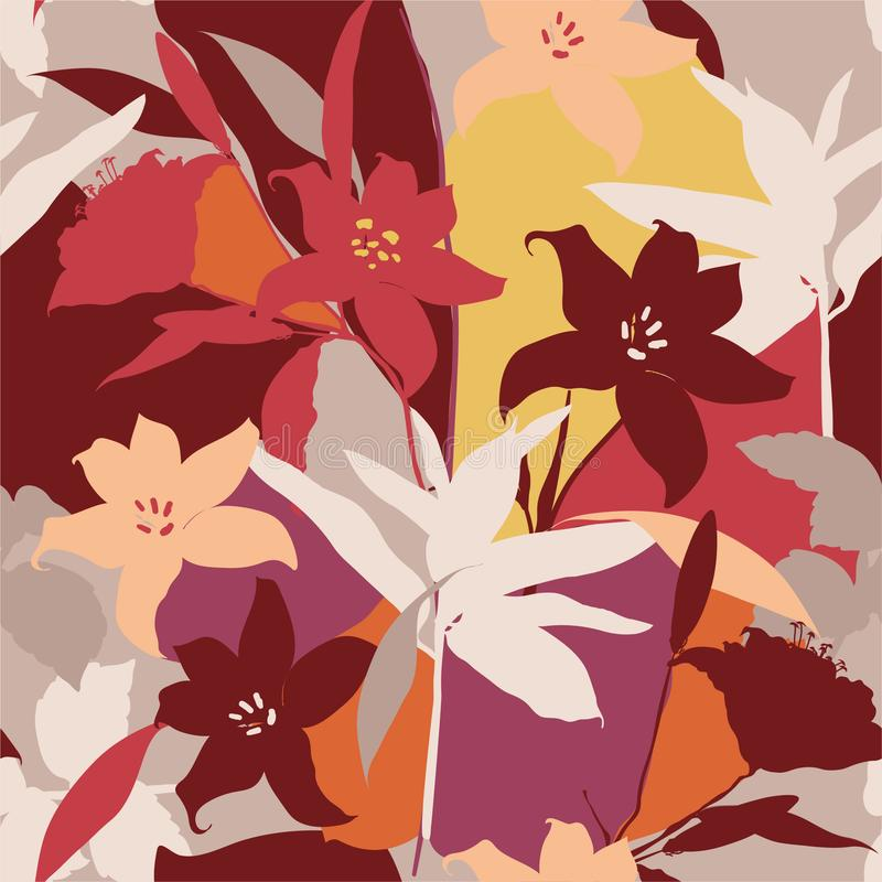 Beautiful retro Silhouette of lily flowers Abstract seamless pattern with leaves and floral Background vector illustration