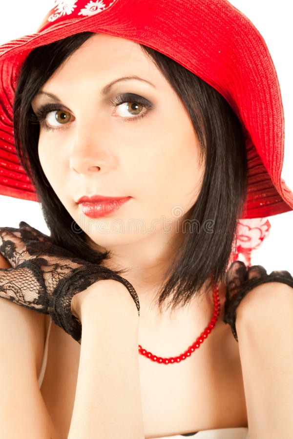 Download Beautiful Retro-styled Woman Looking To The Camera Royalty Free Stock Images - Image: 15889419