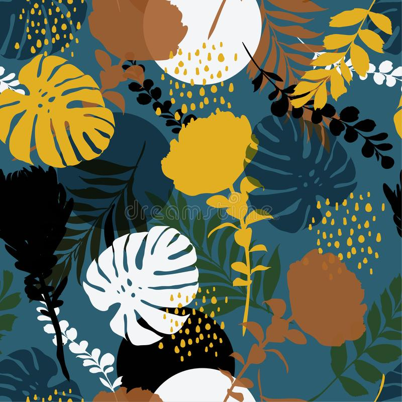 Beautiful retro summer Silhouette Abstract seamless pattern with vector illustration