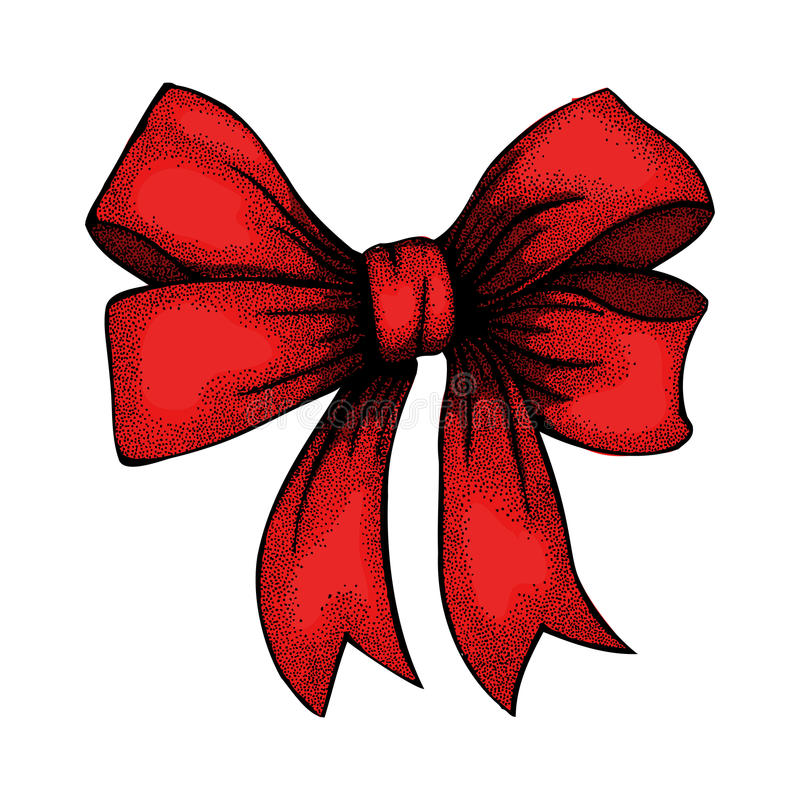 Beautiful ribbon tied in bow. Freehand drawing in royalty free illustration