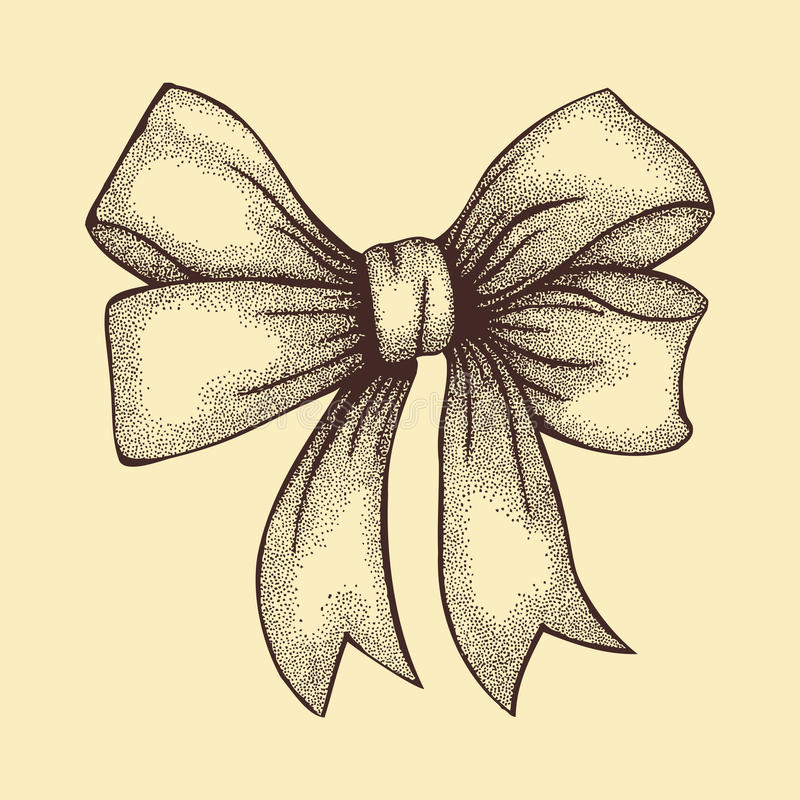 Beautiful ribbon tied in bow. Freehand drawing in graphic style pen and ink stock illustration