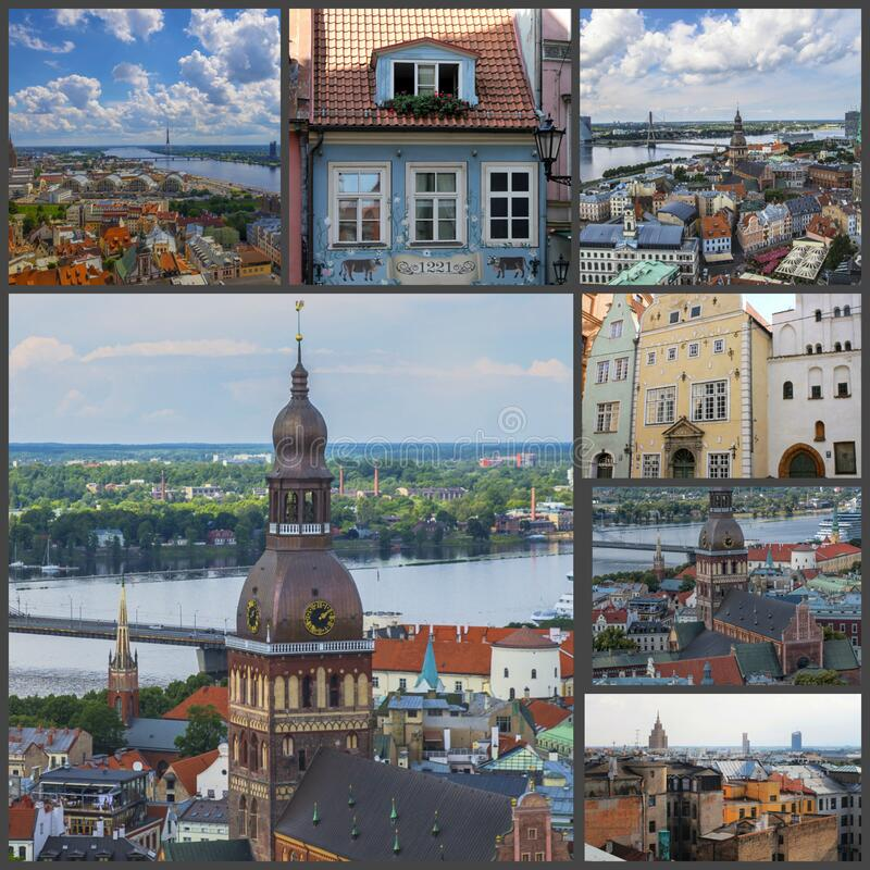 Beautiful Riga, Latvia, views of the old city, collage.  royalty free stock photography