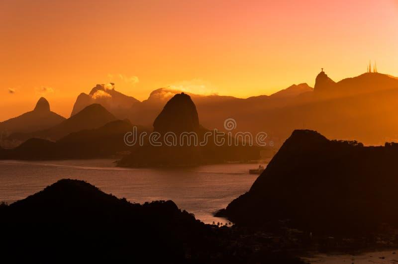 Beautiful Rio de Janeiro Sunset with Mountains royalty free stock image