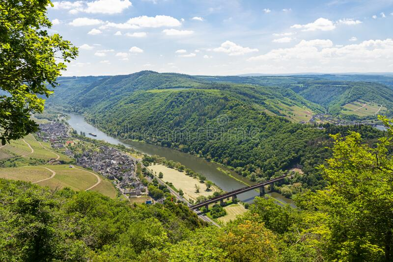 Beautiful, ripening vineyards in the spring season in western Germany, the Moselle river flowing between the hills. Visible railwa. Y bridge over the river stock photos