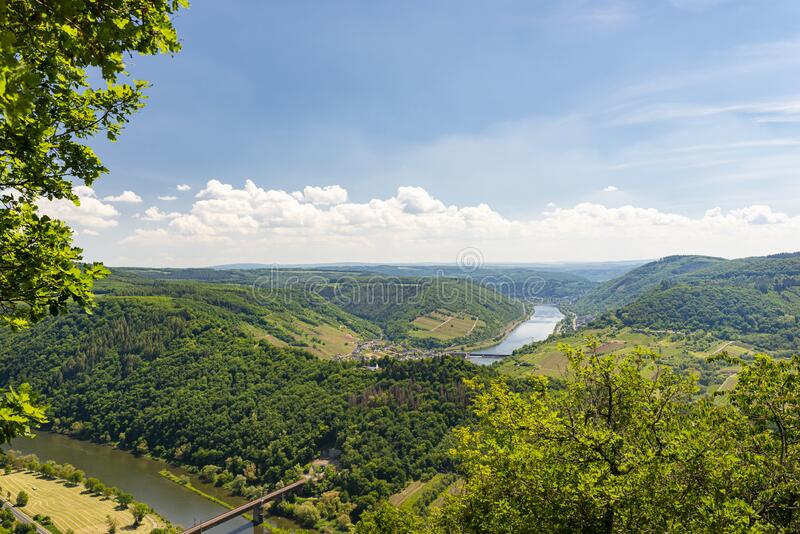 Beautiful, ripening vineyards in the spring season in western Germany, the Moselle river flowing between the hills. Visible railwa. Y bridge over the river royalty free stock images