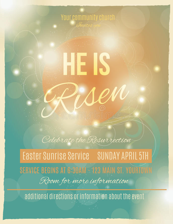 Beautiful He Is Risen Easter Flyer Stock Vector  Illustration Of