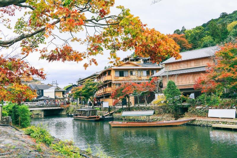Beautiful the river and boat in Arashiyama Kyoto Japan in autumn season. Beautiful the river and boat  in Arashiyama Kyoto Japan in autumn season royalty free stock photography