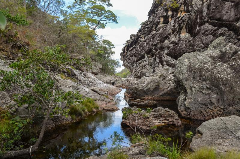 Beautiful river with canyons, waterfall, cascades, forest in a state park of Brazil. Beautiful river between a tropical forest at a state park in Brazil stock photography