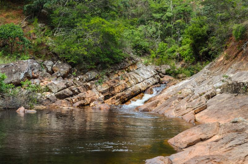 Beautiful river with canyons, waterfall, cascades, forest in a state park of Brazil. Beautiful river between a tropical forest at a state park in Brazil royalty free stock photos