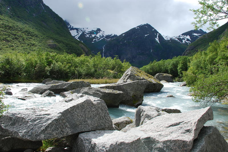 Beautiful river in Norway stock photos