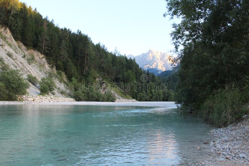 Beautiful river Sava near Kranjska Gora, Slovenia. The Sava is a river in Central and Southeastern Europe, a right tributary of the Danube stock photography