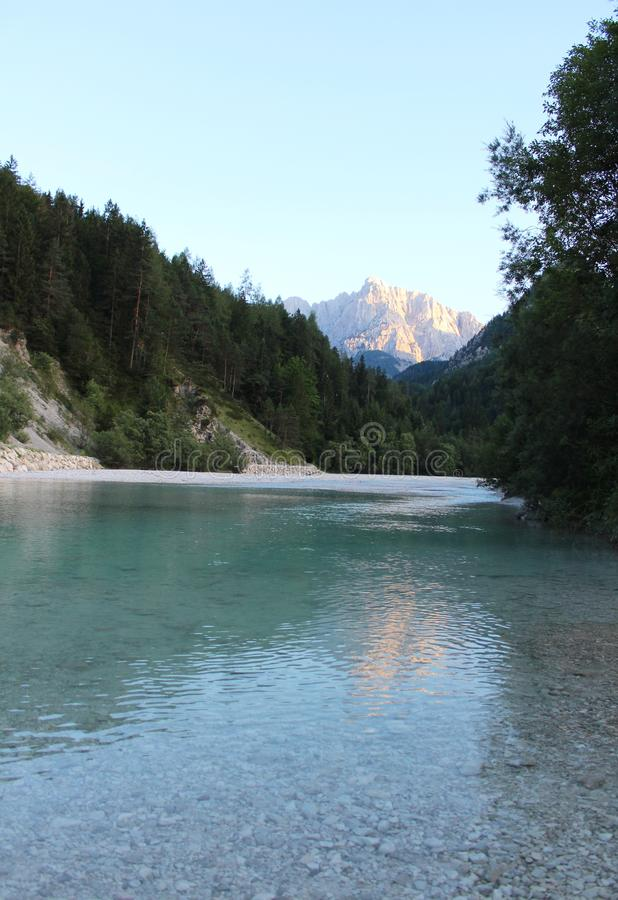 Beautiful river Sava near Kranjska Gora, Slovenia. The Sava is a river in Central and Southeastern Europe, a right tributary of the Danube stock image