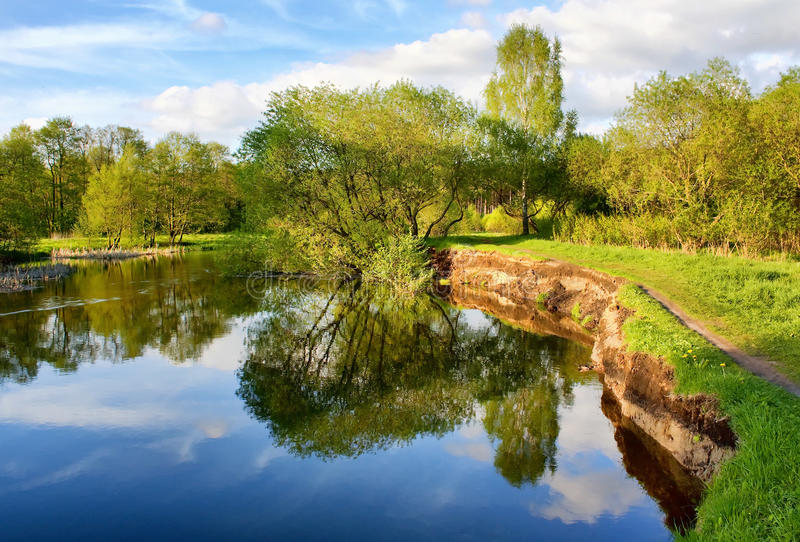 Download Beautiful Riverside View With Clouds And Trees Stock Image - Image: 14938205