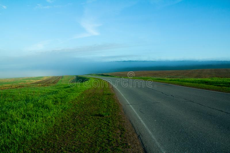 Beautiful road into the distance stock photo