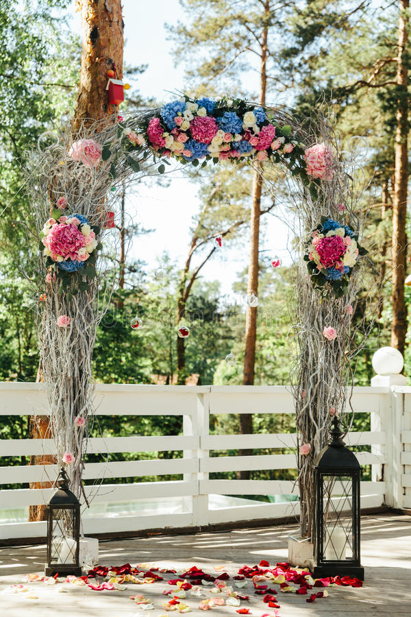 Beautiful road with rose petal for a wedding royalty free stock photos