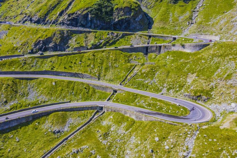 Beautiful road of Transfagarasan in green mountain royalty free stock photography