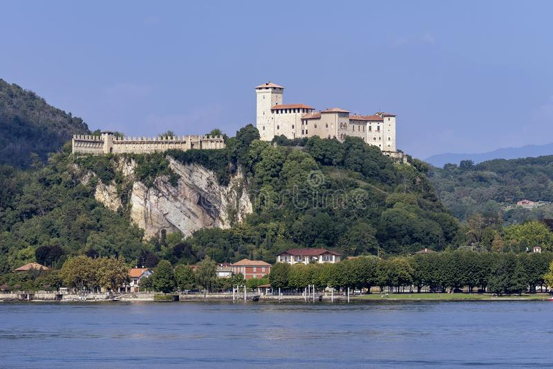 The beautiful Rocca di Angera Varese dominates the southern part of Lake Maggiore, Italy royalty free stock images