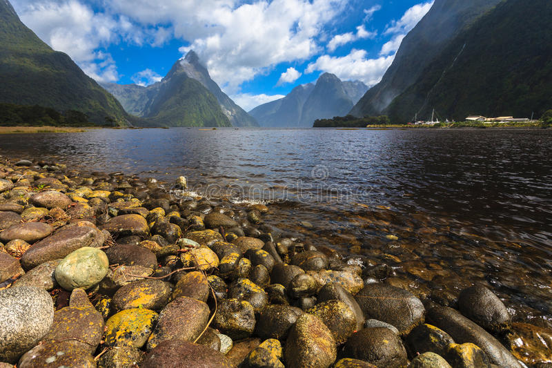 Beautiful rock foreground at Milford Sound. New Zealand stock image
