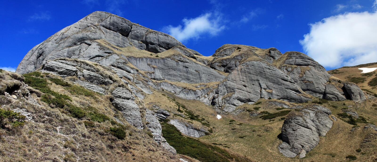 Beautiful rock formations in Ciucas mountains royalty free stock photo