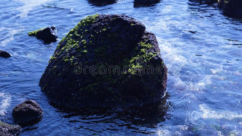 It is a beautiful rock scene on the blue sea of Udo, Jeju Island. royalty free stock images