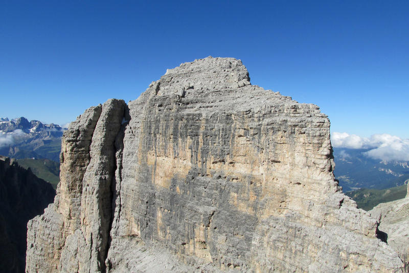 Beautiful rocky mountain. Alps mountains Dolomites panoramic view.Beautiful rocky peaks, mount and gray stones on a sunny day, deep blue sky with some stock photography