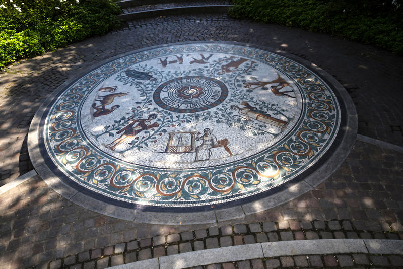 Beautiful Roman Garden in Chester the county city of Cheshire in England royalty free stock photography