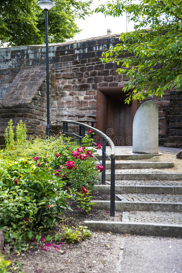 Beautiful Roman Garden in Chester the county city of Cheshire in England royalty free stock images