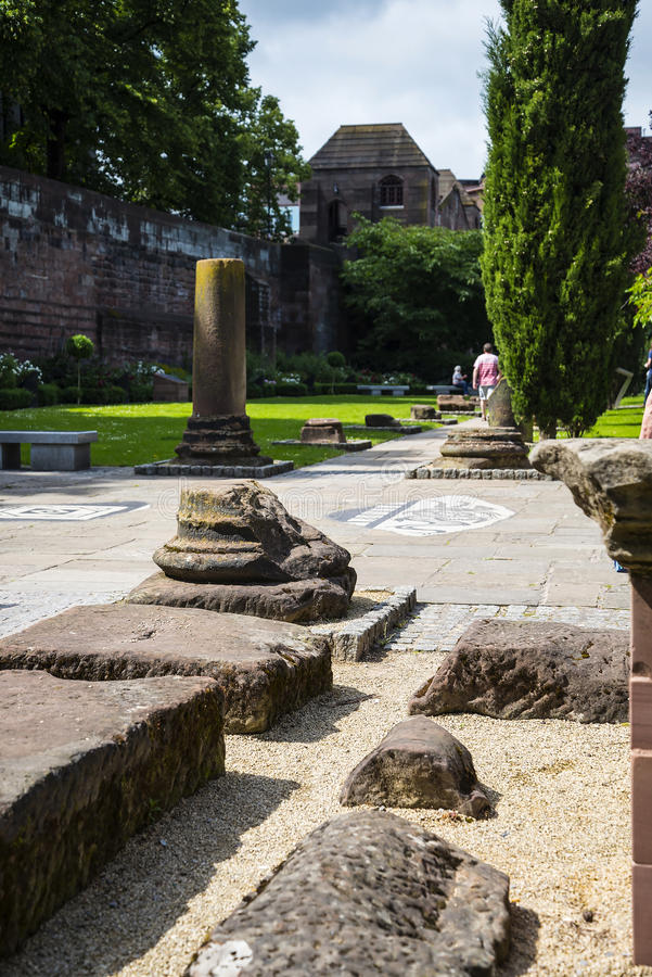 Beautiful Roman Garden in Chester the county city of Cheshire in England stock images