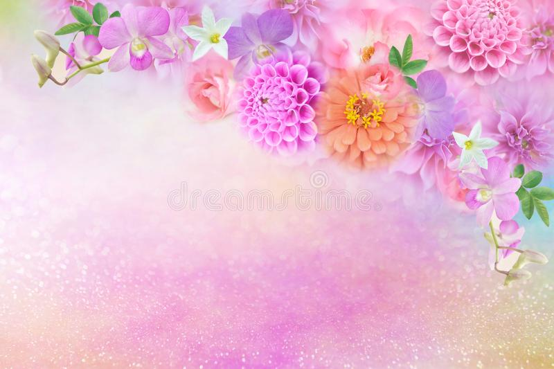 Beautiful romance dahlia, roses and orchid flowers border in colorful glitter background royalty free illustration