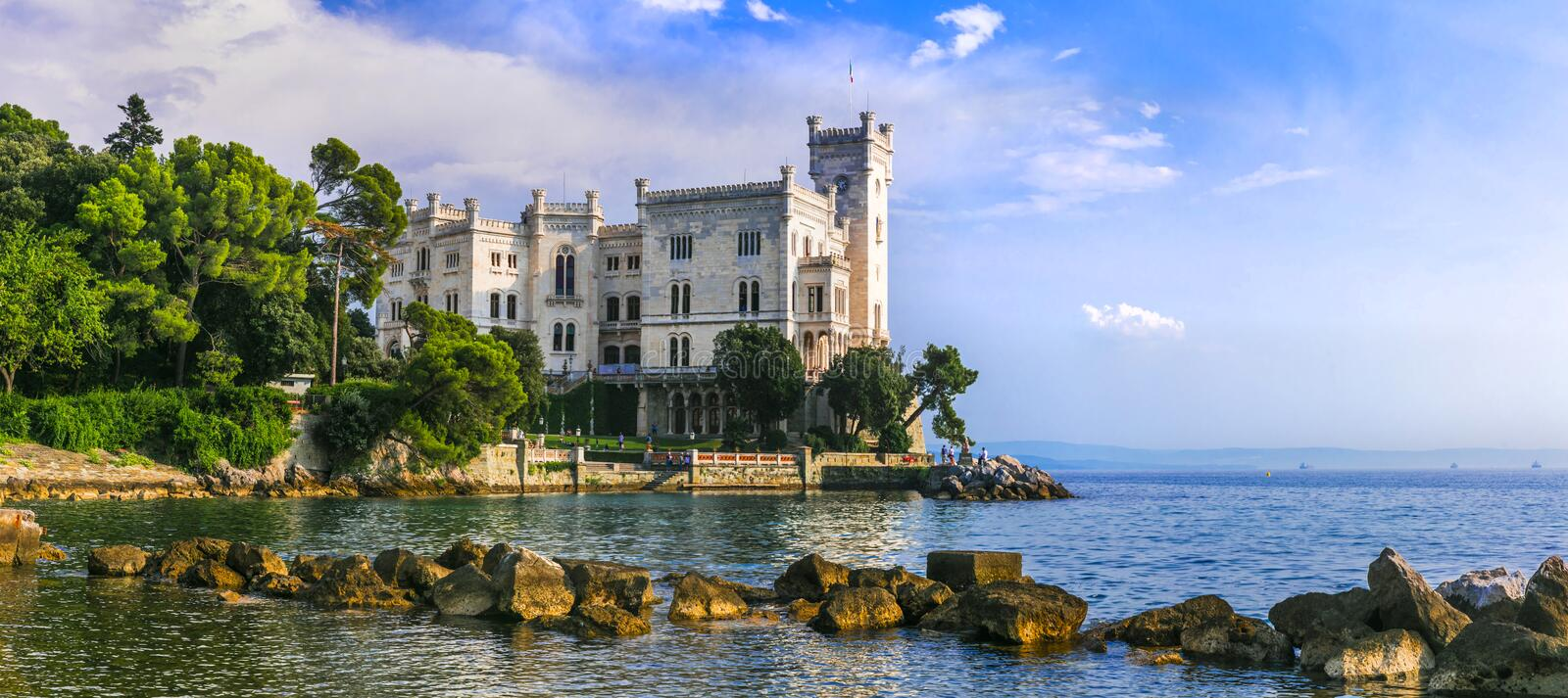 Beautiful castles of Italy - Miramare in Trieste royalty free stock photos