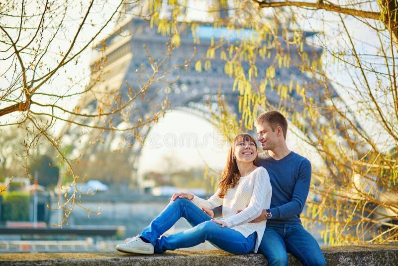 Beautiful romantic couple in Paris. Near the Eiffel tower stock photos