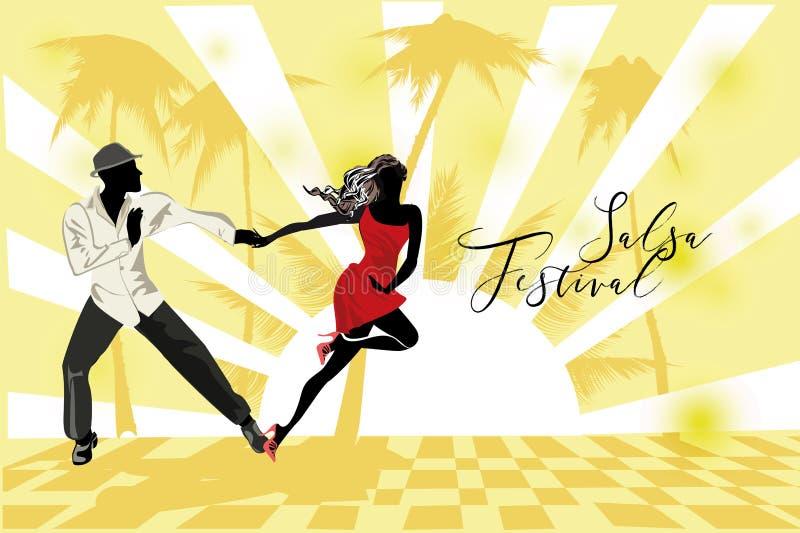 Beautiful romantic couple in passionate Latin American dances. Salsa festival. Hand drawn poster background stock illustration