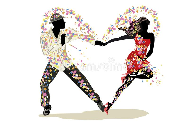 Beautiful romantic couple in passionate Latin American dances. Salsa festival. Hand drawn poster background royalty free illustration