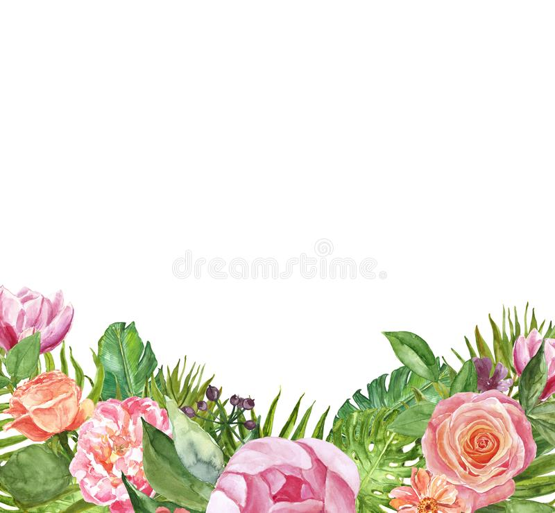 Watercolor tropical floral frame for design. Trendy summer border with palm leaves and pink flowers, isolated. Wedding invitation royalty free illustration