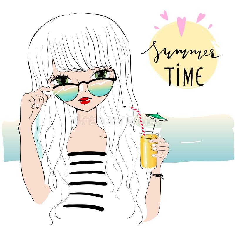 Beautiful romantic girl on the beach. stock illustration