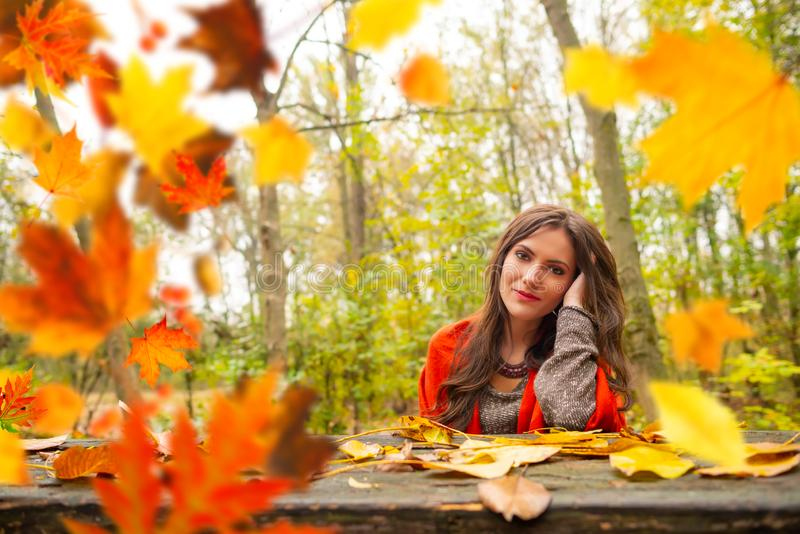 Beautiful romantic girl in park autumn scenery, sitting down at a wooden table and looking at the camera, blurred yellow royalty free stock image
