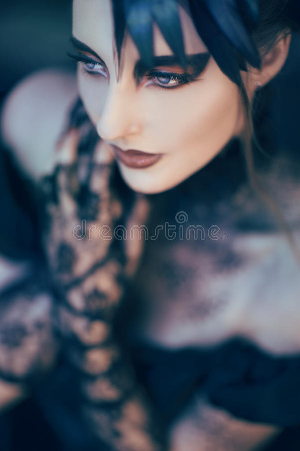 Beautiful, romantic gothic styled woman. With perfekt Make Up and Hair in a gothic feather dress stock images