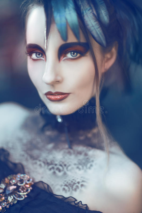 Beautiful, romantic gothic styled woman stock image