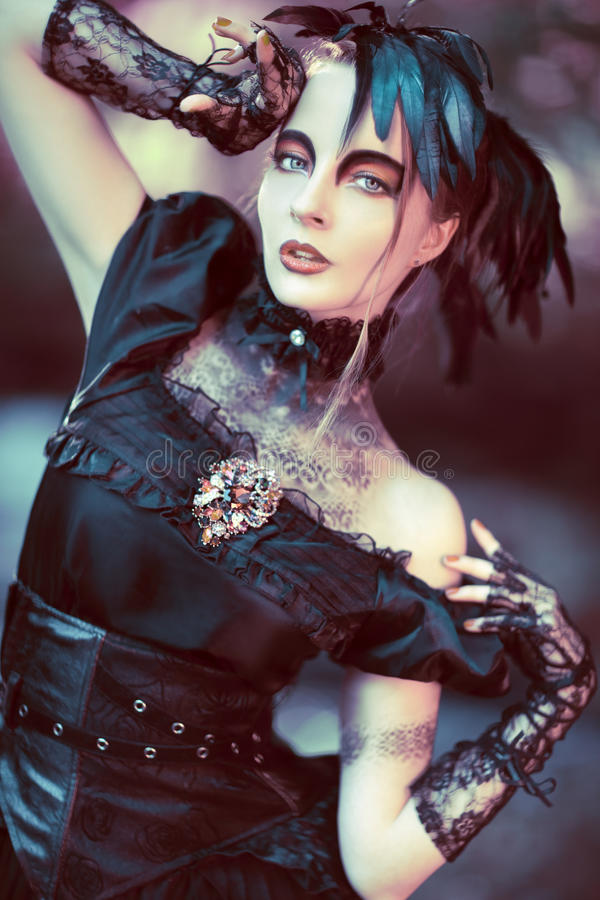 Beautiful, romantic gothic styled woman. Portrait royalty free stock image
