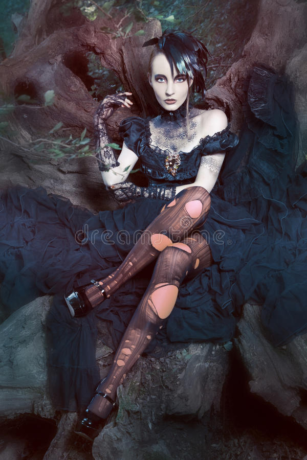 Beautiful, romantic gothic styled woman royalty free stock photography