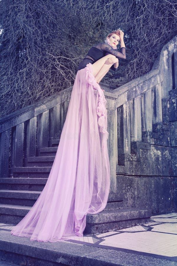 Beautiful, romantic gothic styled woman stock photo