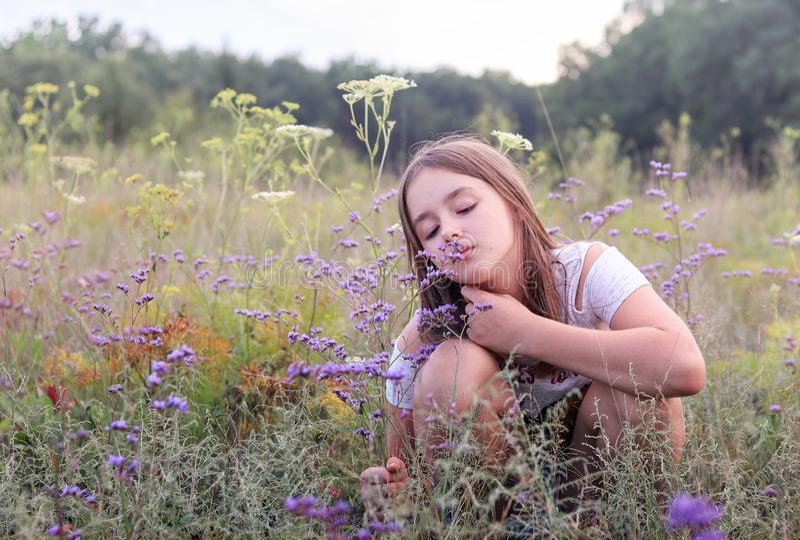 Beautiful romantic little preteen girl sitting on summer meadow enjoying aroma of wild purple oregano flowers. Summer holidays. stock photography