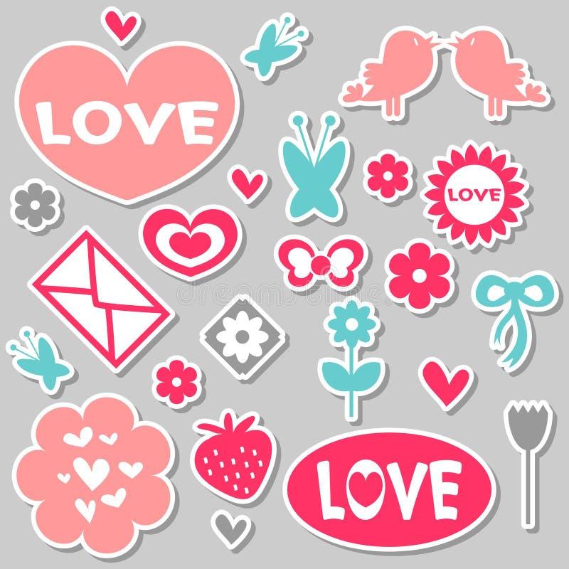 Download Beautiful Romantic Stickers Stock Vector