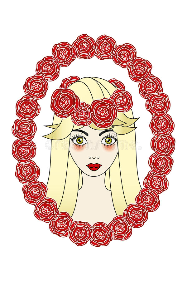 Beautiful rose-maid tattoo. Hand drawn illustration of beautiful rose-maid, framed by roses stock illustration
