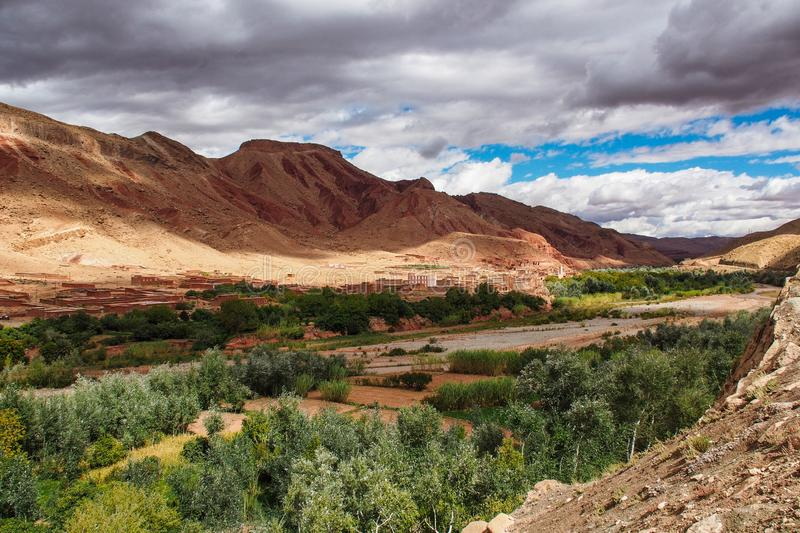The beautiful Rose Valley - Vallee des Roses, near Ouarzazate, Morocco royalty free stock photography